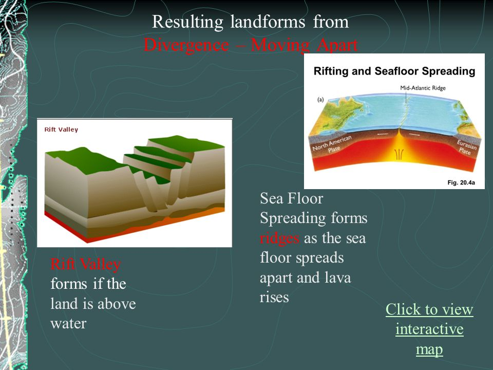 Rift Valley forms if the land is above water Sea Floor Spreading forms ridges as the sea floor spreads apart and lava rises Resulting landforms from D