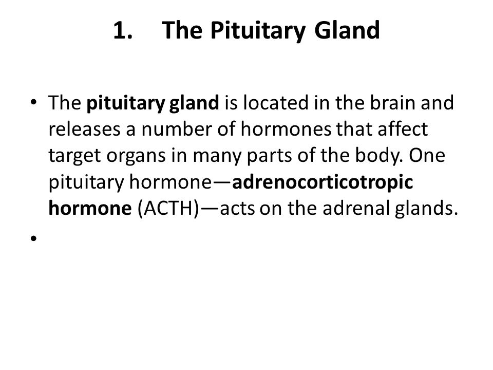1.The Pituitary Gland The pituitary gland is located in the brain and releases a number of hormones that affect target organs in many parts of the bod