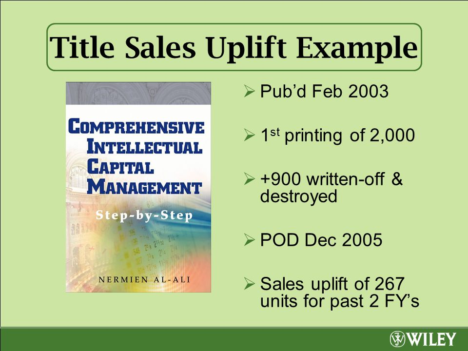 Title Sales Uplift Example  Pub'd Feb 2003  1 st printing of 2,000  +900 written-off & destroyed  POD Dec 2005  Sales uplift of 267 units for past 2 FY's