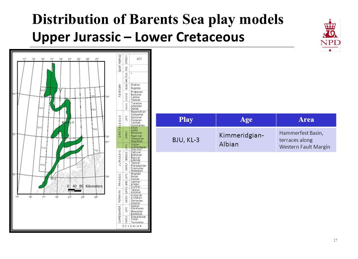 Distribution of Barents Sea play models Upper Jurassic – Lower Cretaceous 17 PlayAgeArea BJU, KL-3 Kimmeridgian- Albian Hammerfest Basin, terraces along Western Fault Margin