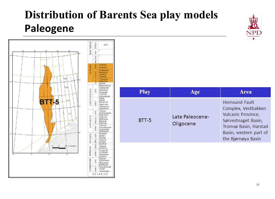 Distribution of Barents Sea play models Paleogene 19 PlayAgeArea BTT-5 Late Paleocene- Oligocene Hornsund Fault Complex, Vestbakken Vulcanic Province, Sørvestnaget Basin, Tromsø Basin, Harstad Basin, western part of the Bjørnøya Basin