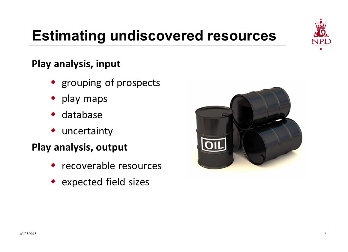 Estimating undiscovered resources 05/05/201521 Play analysis, input  grouping of prospects  play maps  database  uncertainty Play analysis, output  recoverable resources  expected field sizes