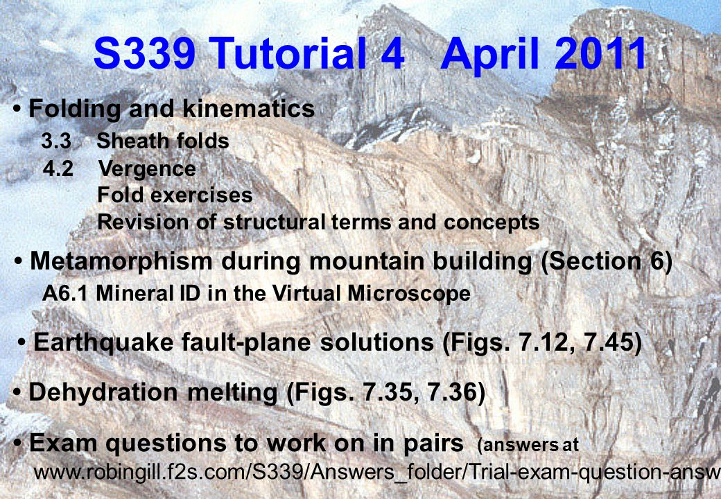 S339 Tutorial 4 April 2011 Earthquake fault-plane solutions (Figs.