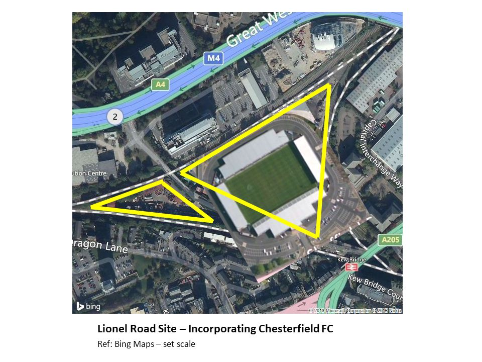 Lionel Road Site – Incorporating Chesterfield FC Ref: Bing Maps – set scale