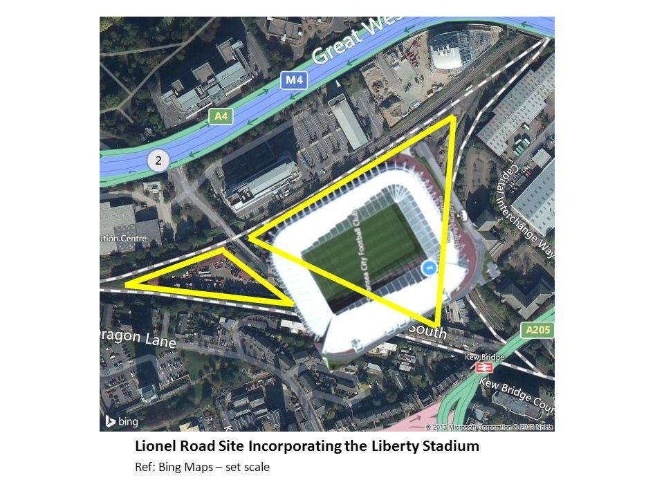 Lionel Road Site Incorporating the Liberty Stadium Ref: Bing Maps – set scale