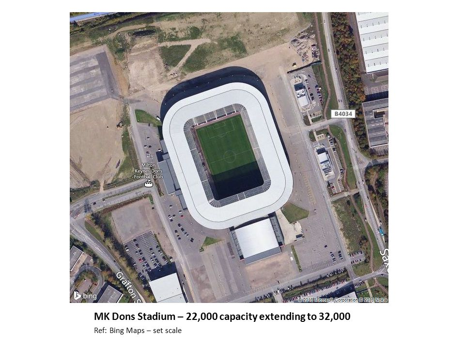 MK Dons Stadium – 22,000 capacity extending to 32,000 Ref: Bing Maps – set scale