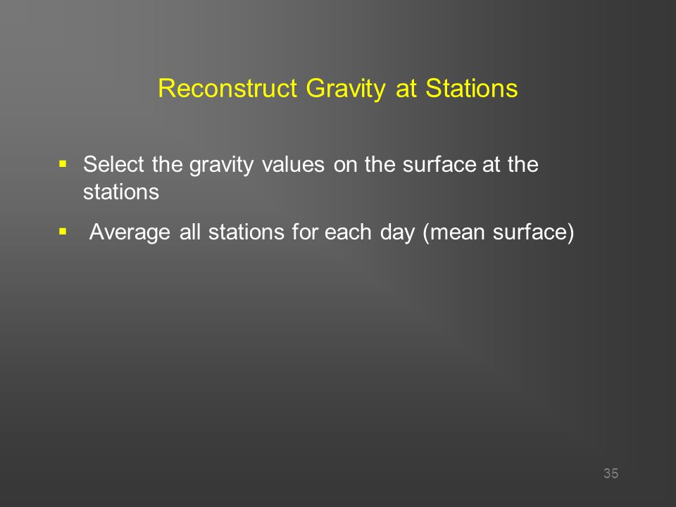 35 Reconstruct Gravity at Stations  Select the gravity values on the surface at the stations  Average all stations for each day (mean surface)