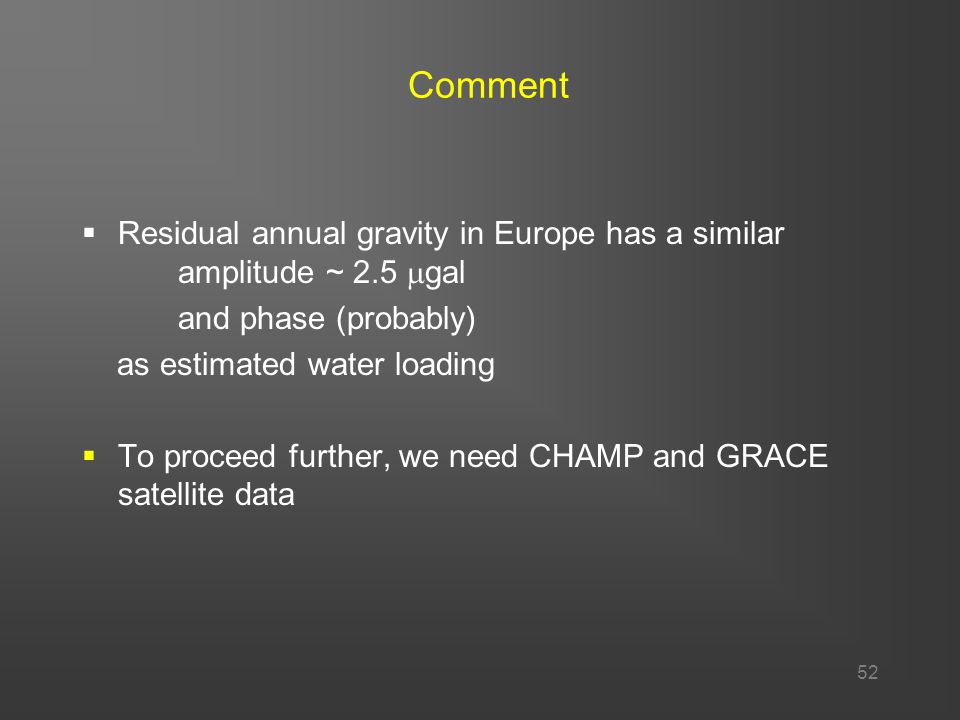 52 Comment  Residual annual gravity in Europe has a similar amplitude ~ 2.5  gal and phase (probably) as estimated water loading  To proceed further, we need CHAMP and GRACE satellite data