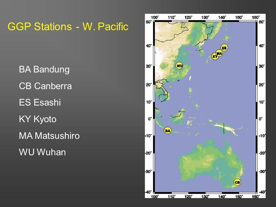 55 BA Bandung CB Canberra ES Esashi KY Kyoto MA Matsushiro WU Wuhan GGP Stations - W. Pacific