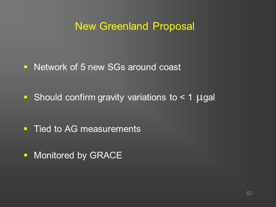 60 New Greenland Proposal  Network of 5 new SGs around coast  Should confirm gravity variations to < 1  gal  Tied to AG measurements  Monitored by GRACE