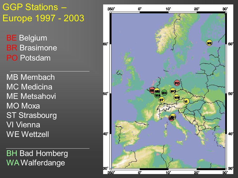 9 BE Belgium BR Brasimone PO Potsdam MB Membach MC Medicina ME Metsahovi MO Moxa ST Strasbourg VI Vienna WE Wettzell BH Bad Homberg WA Walferdange GGP Stations – Europe 1997 - 2003