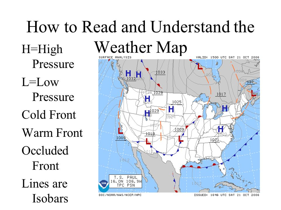 How to Read and Understand the Weather Map H=High Pressure L=Low Pressure Cold Front Warm Front Occluded Front Lines are Isobars