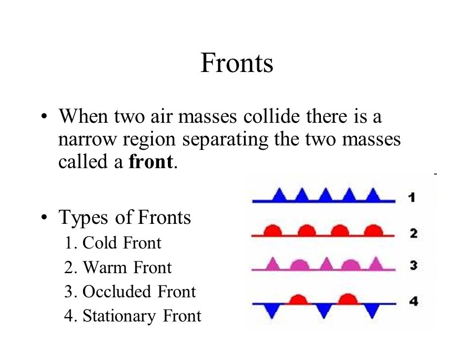Fronts When two air masses collide there is a narrow region separating the two masses called a front. Types of Fronts 1. Cold Front 2. Warm Front 3. O