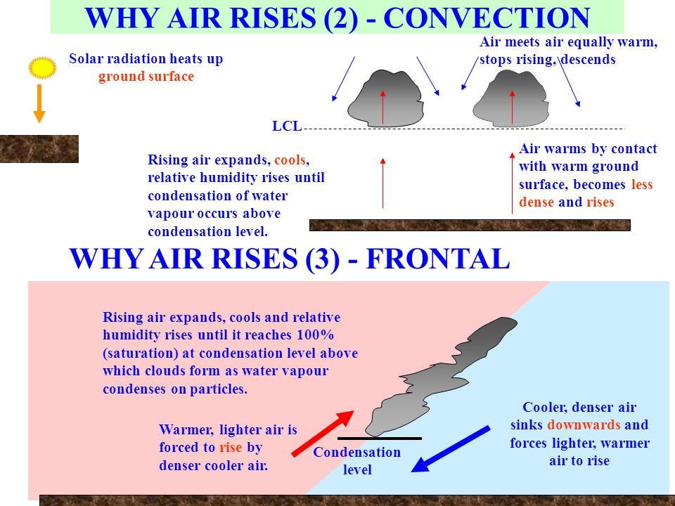 Cooler, denser air sinks downwards and forces lighter, warmer air to rise Warmer, lighter air is forced to rise by denser cooler air. Rising air expan