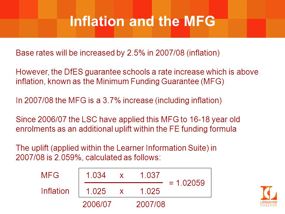 Inflation and the MFG Base rates will be increased by 2.5% in 2007/08 (inflation) However, the DfES guarantee schools a rate increase which is above i
