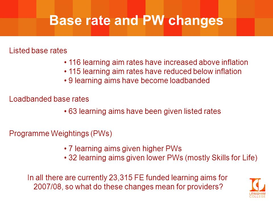Base rate and PW changes Listed base rates 116 learning aim rates have increased above inflation 115 learning aim rates have reduced below inflation 9