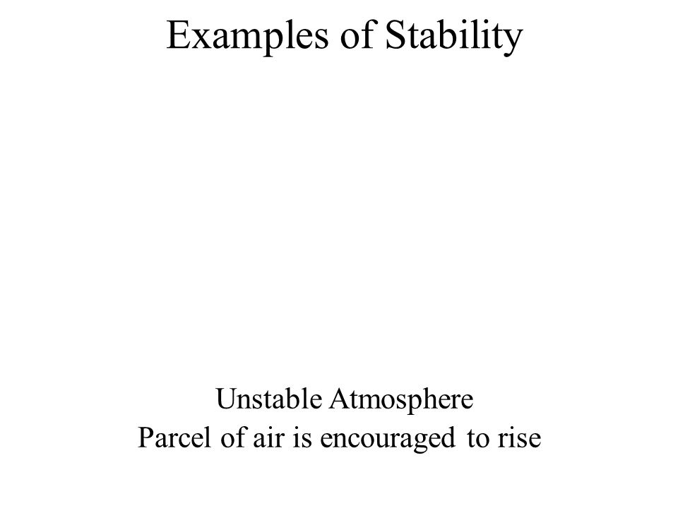 Examples of Stability Unstable Atmosphere Parcel of air is encouraged to rise
