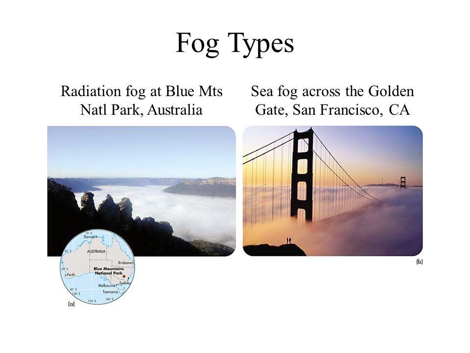 Fog Types Radiation fog at Blue Mts Natl Park, Australia Sea fog across the Golden Gate, San Francisco, CA