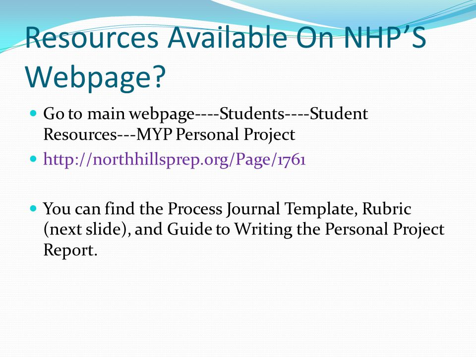 Resources Available On NHP'S Webpage.