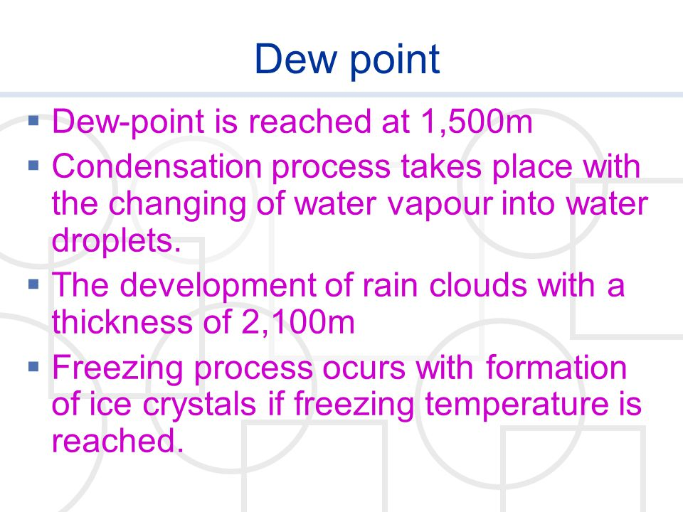 Dew point  Dew-point is reached at 1,500m  Condensation process takes place with the changing of water vapour into water droplets.