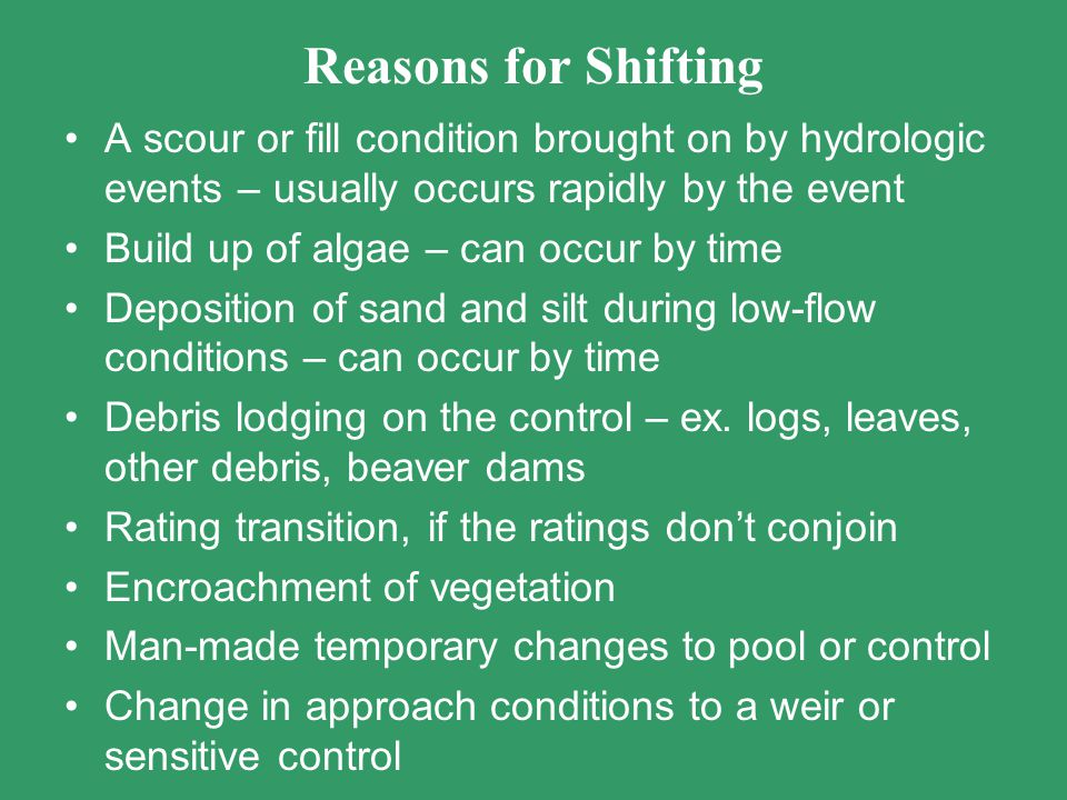 Reasons for Shifting A scour or fill condition brought on by hydrologic events – usually occurs rapidly by the event Build up of algae – can occur by