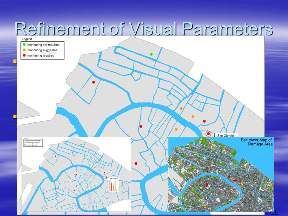 MEL Refinement of Visual Parameters  From the Results: List –Suggested Visual Parameters –Which Towers.