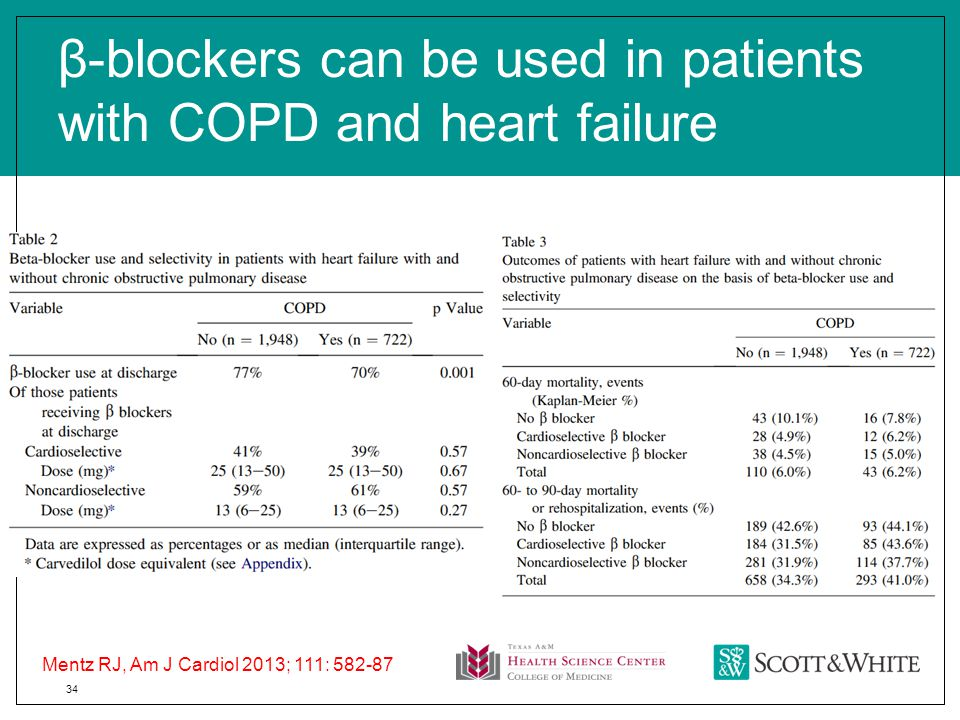 34 β-blockers can be used in patients with COPD and heart failure Mentz RJ, Am J Cardiol 2013; 111: 582-87