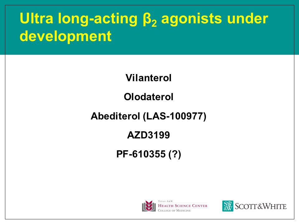 Ultra long-acting β 2 agonists under development Vilanterol Olodaterol Abediterol (LAS-100977) AZD3199 PF-610355 ( )