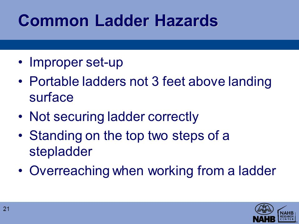 Common Ladder Hazards Improper set-up Portable ladders not 3 feet above landing surface Not securing ladder correctly Standing on the top two steps of