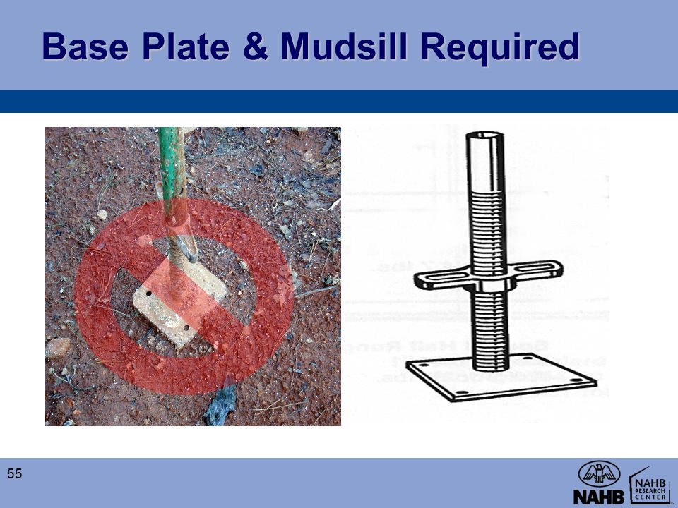 Base Plate & Mudsill Required 55