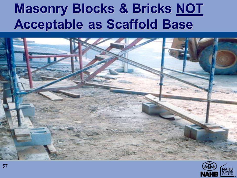 Masonry Blocks & Bricks NOT Acceptable as Scaffold Base 57