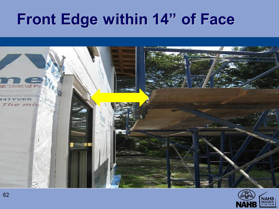 "Front Edge within 14"" of Face 62"