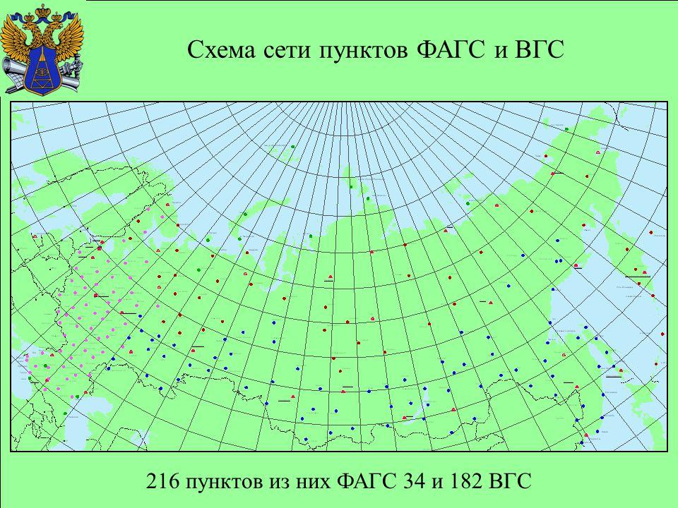 216 пунктов из них ФАГС 34 и 182 ВГС Схема сети пунктов ФАГС и ВГС