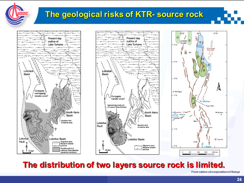 24 The geological risks of KTR- source rock The distribution of two layers source rock is limited.