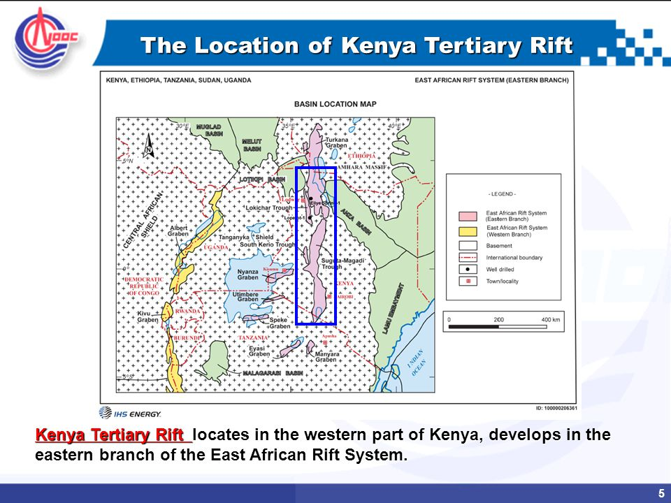 5 The Location of Kenya Tertiary Rift Kenya Tertiary Rift locates in the western part of Kenya, develops in the eastern branch of the East African Rift System.