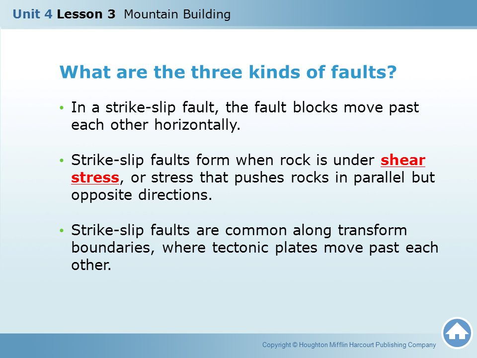 What are the three kinds of faults? In a strike-slip fault, the fault blocks move past each other horizontally. Strike-slip faults form when rock is u
