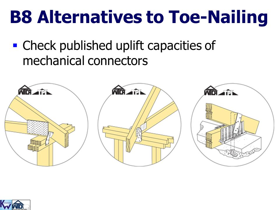 113 B8 Alternatives to Toe-Nailing  Check published uplift capacities of mechanical connectors