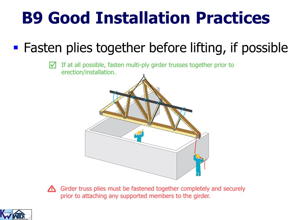 125 B9 Good Installation Practices  Fasten plies together before lifting, if possible