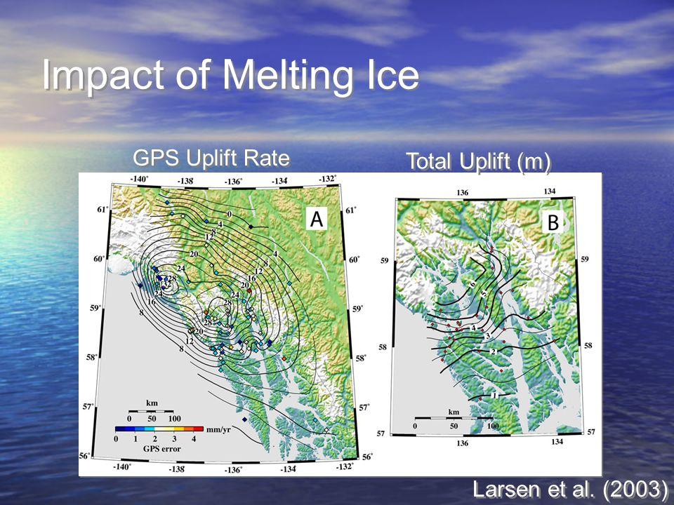 Impact of Melting Ice GPS Uplift Rate Total Uplift (m) Larsen et al. (2003)