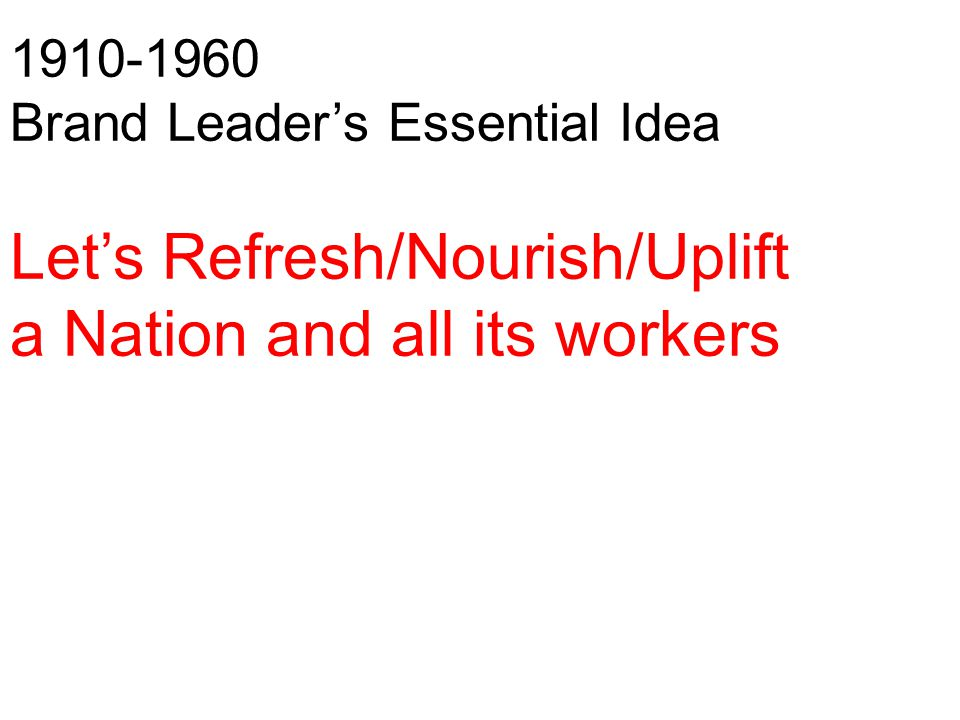 1910-1960 Brand Leader's Essential Idea Let's Refresh/Nourish/Uplift a Nation and all its workers
