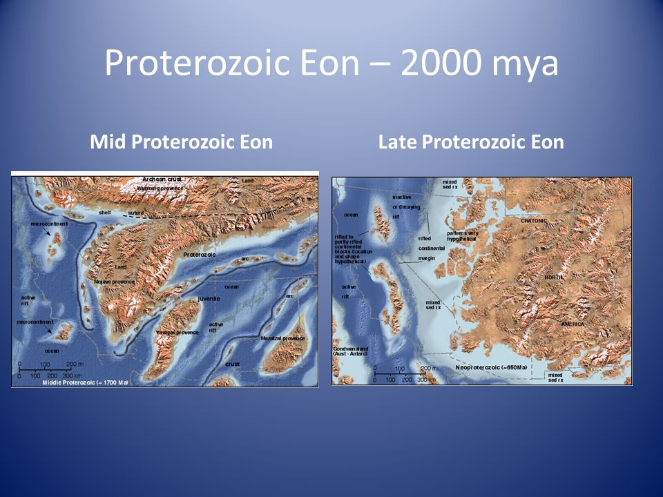 Proterozoic Eon – 2000 mya Mid Proterozoic Eon Late Proterozoic Eon