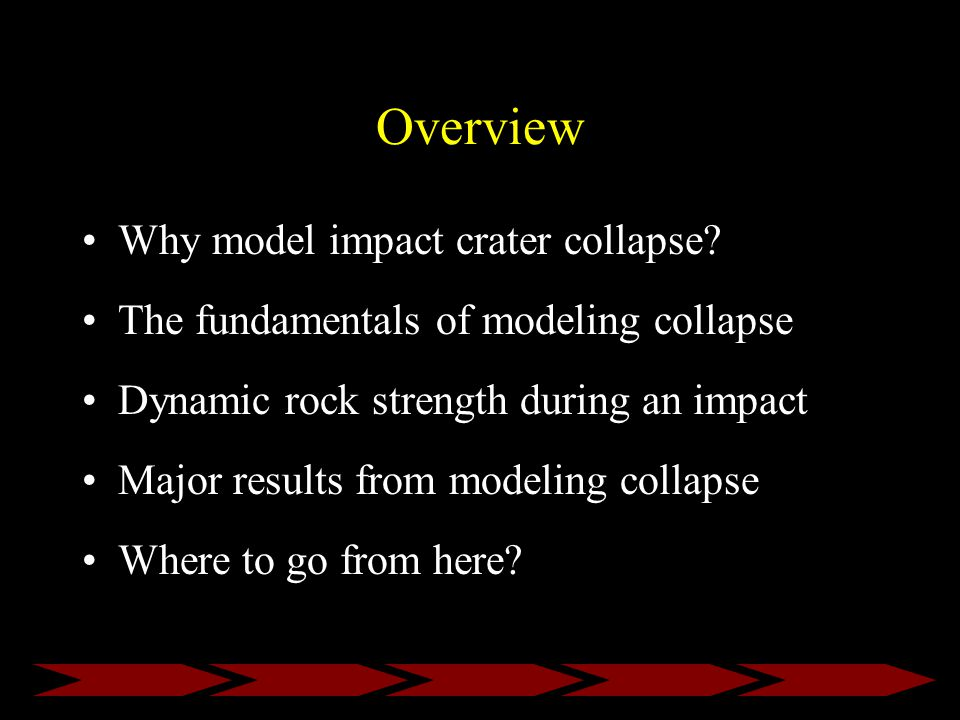 Overview Why model impact crater collapse.