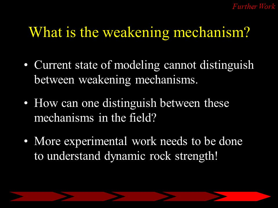 Further Work What is the weakening mechanism.