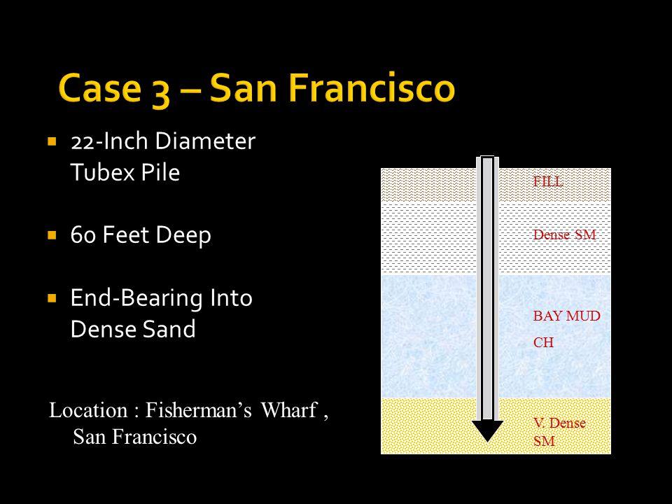  22-Inch Diameter Tubex Pile  60 Feet Deep  End-Bearing Into Dense Sand FILL Dense SM BAY MUD CH V.