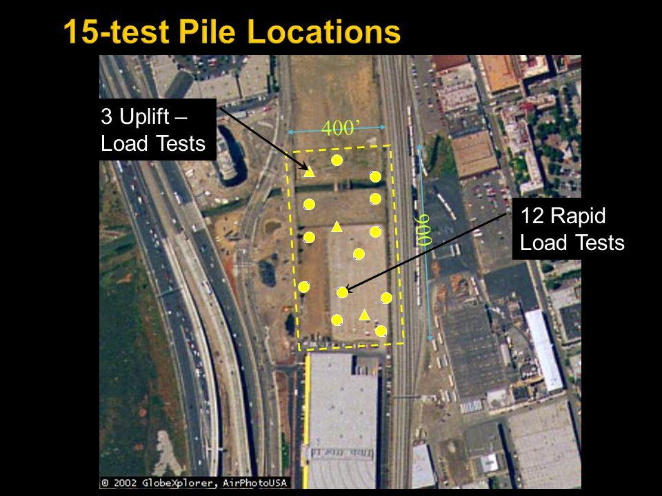 900' 400' 12 Rapid Load Tests 3 Uplift – Load Tests