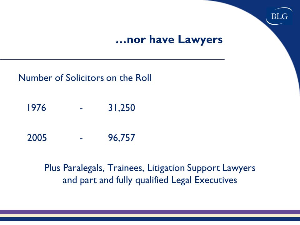 …nor have Lawyers Number of Solicitors on the Roll 1976-31,250 2005-96,757 Plus Paralegals, Trainees, Litigation Support Lawyers and part and fully qualified Legal Executives