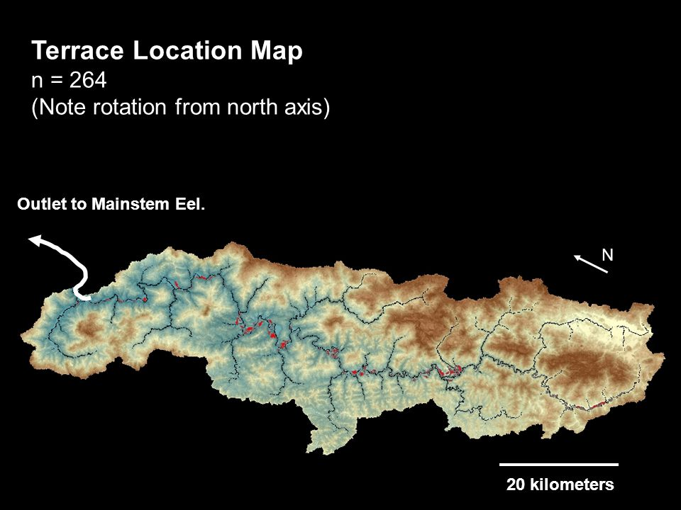 N Terrace Location Map n = 264 (Note rotation from north axis) Outlet to Mainstem Eel.
