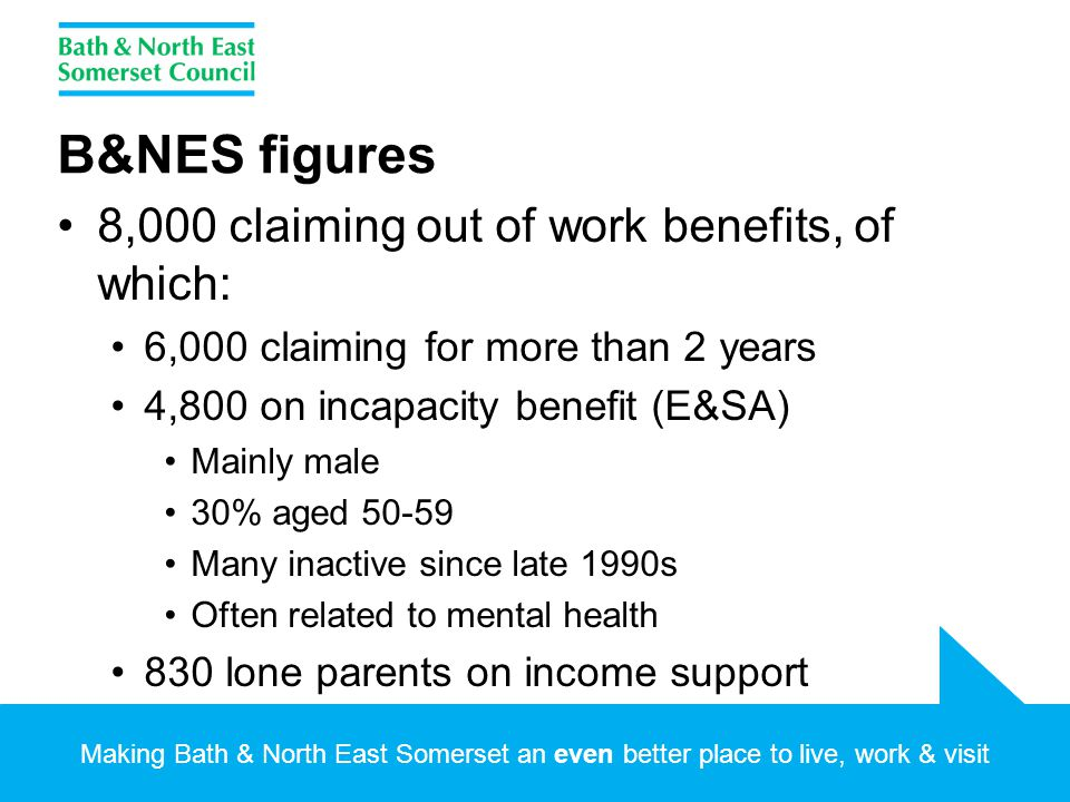 Making Bath & North East Somerset an even better place to live, work & visit B&NES figures 8,000 claiming out of work benefits, of which: 6,000 claiming for more than 2 years 4,800 on incapacity benefit (E&SA) Mainly male 30% aged 50-59 Many inactive since late 1990s Often related to mental health 830 lone parents on income support