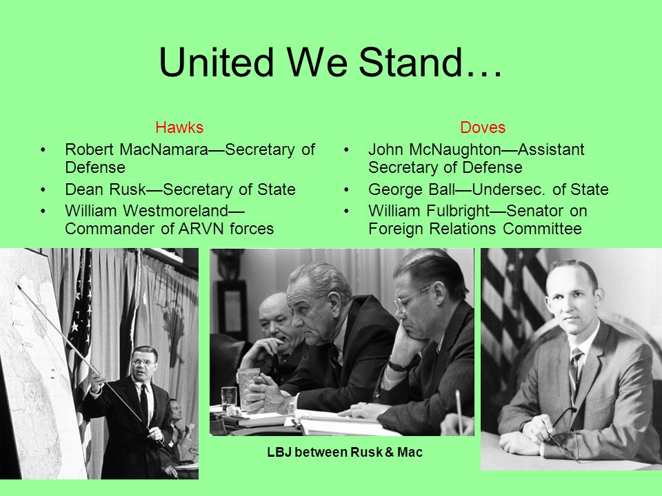 United We Stand… Hawks Robert MacNamara—Secretary of Defense Dean Rusk—Secretary of State William Westmoreland— Commander of ARVN forces Doves John McNaughton—Assistant Secretary of Defense George Ball—Undersec.
