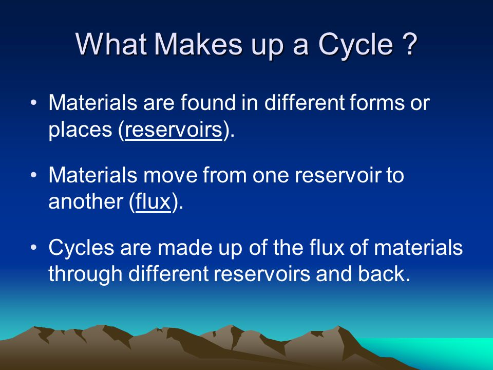 Fluxes –Geological uplift –Weathering and Erosion –Incorporation into organic molecules –Decomposition –Precipitation Energy